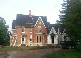 The renovation in progress.